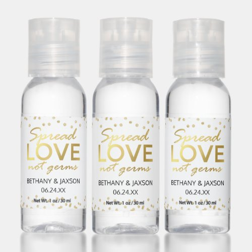Personalized Spread Love Not Germs Hand Sanitizer
