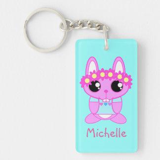 Personalized Spring Bunny Rabbit Keychain