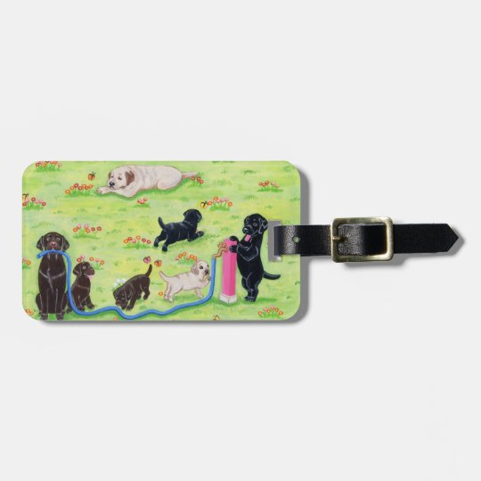 Personalized Spring Fun Labradors Painting Bag Tag