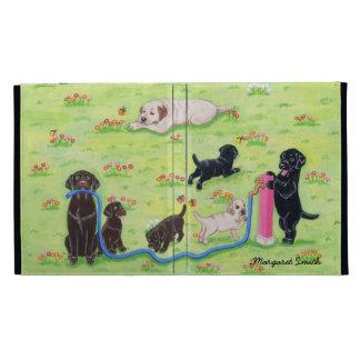Personalized Spring Fun Labradors Painting iPad Folio Cases