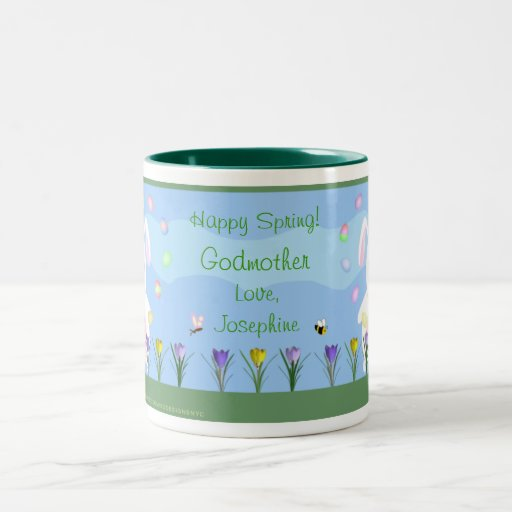 Personalized Spring Garden Bunny Mug