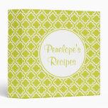 Personalized  Spring Green  Recipe Binder