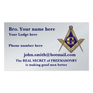 PERSONALIZED SQUARE AND COMPASSES MASONIC BUSINESS CARD TEMPLATE