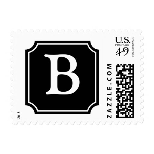 Personalized Square Mansard Monogram, Black Postage Stamp