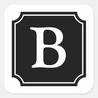 Personalized Square Mansard Monogram, Black Square Sticker