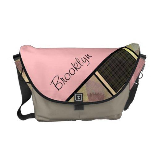 Personalized Square Pattern Rickshaw Bag Messenger Bags