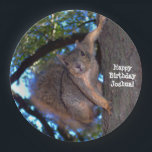"Personalized Squirrel Paper Plates<br><div class=""desc"">Whether you&#39;re celebrating a birthday or some other special events,  these curious squirrel paper plates will be the hit of the party! Add you own birthday boy&#39;s name -- or change the message text entirely to suit your celebration needs!</div>"