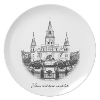 Personalized St. Louis Cathedral Sketch Party Plate