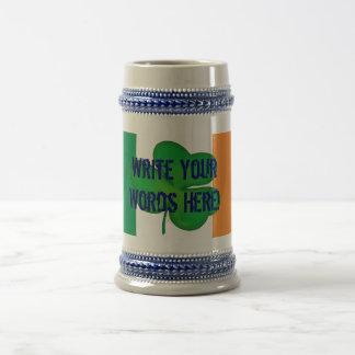 Personalized St Patrick - Irish Flag Shamrock Mug. Beer Stein