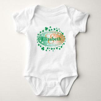 Personalized St Patrick's Day Shamrocks Baby Bodysuit