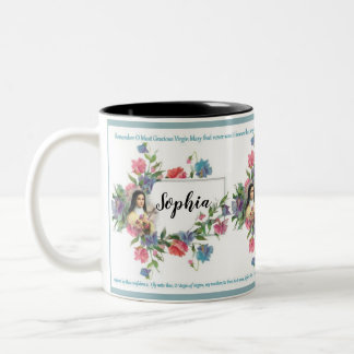 Personalized St. Therese with Memorare Prayer Two-Tone Coffee Mug