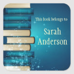 """Personalized Stack of Books Bookplate Sticker<br><div class=""""desc"""">Personalized Bookplate Sticker featuring a Stack of Books and customizable text!</div>"""