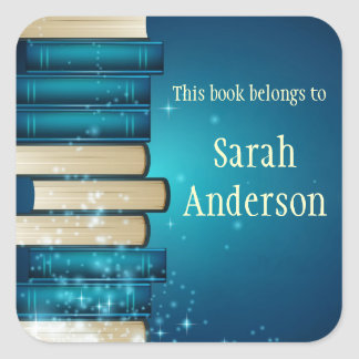 Personalized Stack of Books Bookplate Sticker