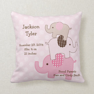 "Personalized ""Stacked Elephants with dots"" Pillow"