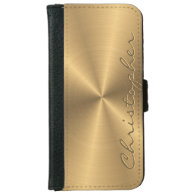 Personalized Stainless Steel Gold Metallic Radial iPhone 6 Wallet Case