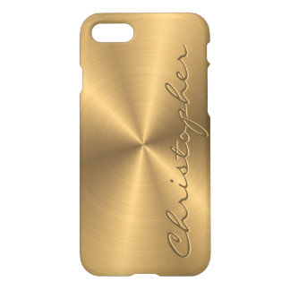 Personalized Stainless Steel Gold Metallic Radial iPhone 7 Case