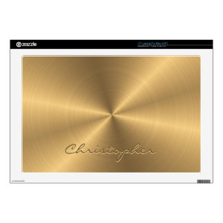 Personalized Stainless Steel Gold Metallic Radial Laptop Skin