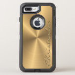 Personalized Stainless Steel Gold Metallic Radial OtterBox Defender iPhone 7 Plus Case