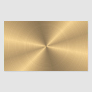 Personalized Stainless Steel Gold Metallic Radial Rectangular Sticker