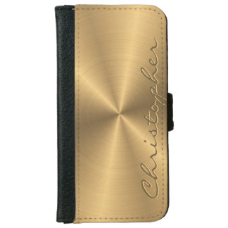 Personalized Stainless Steel Gold Metallic Radial Wallet Phone Case For iPhone 6/6s