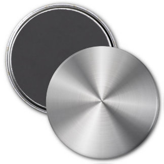 Personalized Stainless Steel Metallic Radial Look 3 Inch Round Magnet