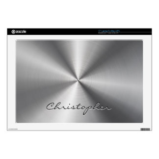 "Personalized Stainless Steel Metallic Radial Look Decal For 17"" Laptop"