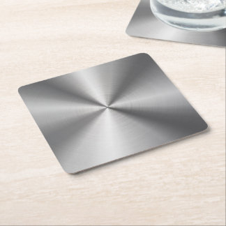 Personalized Stainless Steel Metallic Radial Look Square Paper Coaster