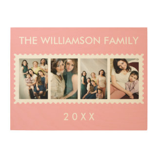 Personalized Stamp Frame 4 Family Photo Pink Wood Wall Decor