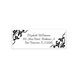Personalized Stamp with Flowers and Leaves