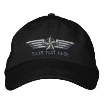 Personalized Star Badge Pilot Wings Embroidered Baseball Cap