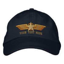 Personalized Star Badge Pilot Wings Embroidered Baseball Hat