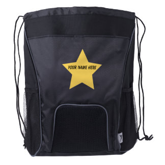 Personalized STAR Black Drawstring Backpack