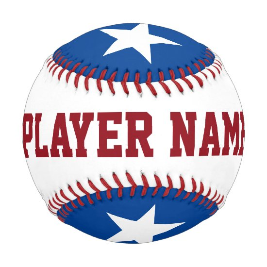 Personalized Star Player Team Names red white blue Baseball