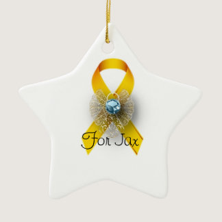 Personalized star shape childhood cancer ornament