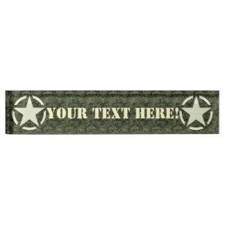 Personalized Star Stencil Vintage Digital Camo Name Plate