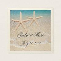 Personalized Starfish Beach Wedding Paper Napkins