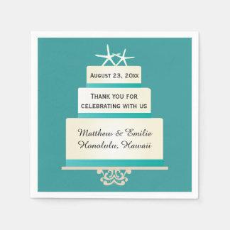 Personalized Starfish Wedding Cake Napkins Standard Cocktail Napkin