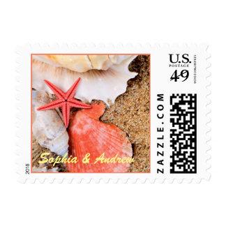 Personalized Starfish Wedding Postage Stamp