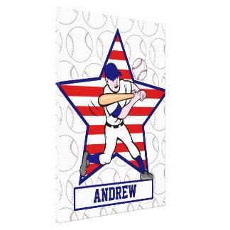 Personalized Stars and Stripes Baseball Batter v1 Canvas Print