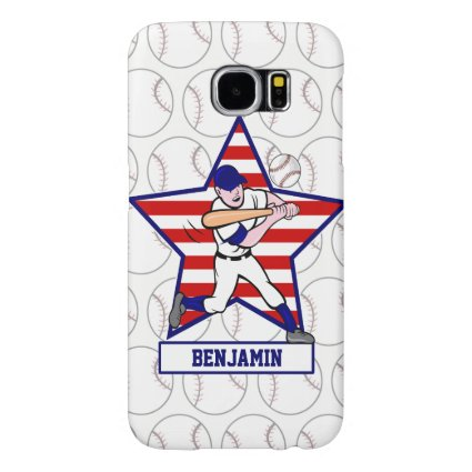 Personalized Stars and Stripes Baseball Batter v1 Samsung Galaxy S6 Cases