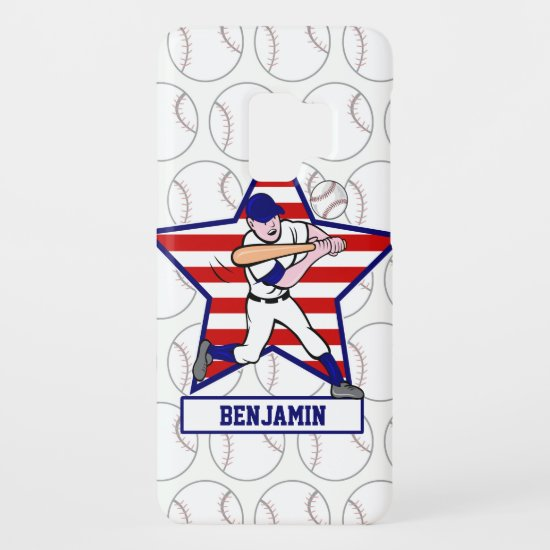 Personalized Stars and Stripes Baseball Batter v1 Case-Mate Samsung Galaxy S9 Case