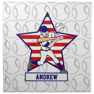 Personalized Stars and Stripes Baseball Batter v1 Cloth Napkin