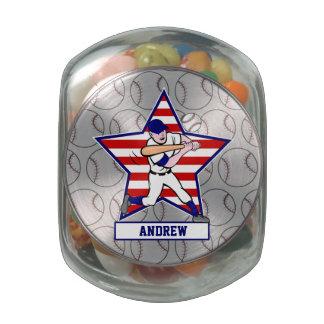 Personalized Stars and Stripes Baseball Batter v1 Glass Jars