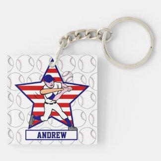 Personalized Stars and Stripes Baseball Batter v1 Keychain