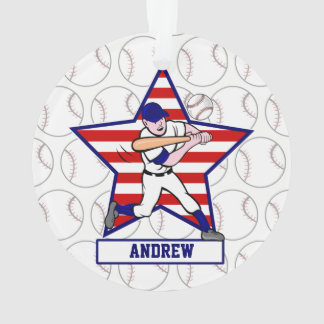 Personalized Stars and Stripes Baseball Batter v1 Ornament