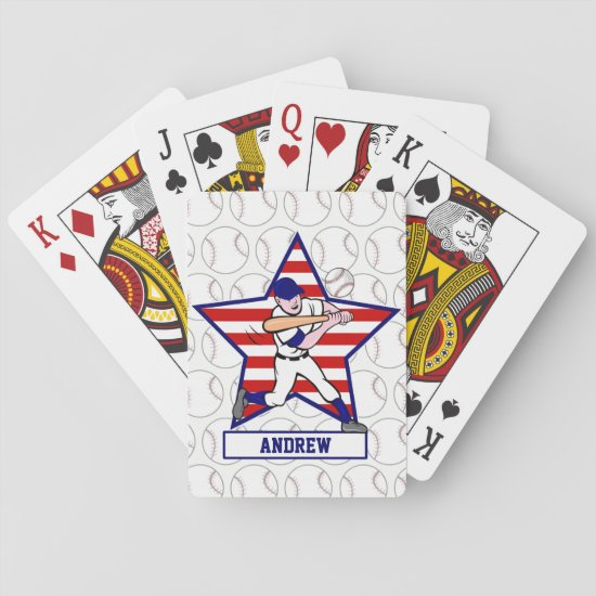 Personalized Stars and Stripes Baseball Batter v1 Playing Cards