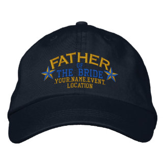 Personalized Stars Father of the Bride Gold Blue Baseball Cap