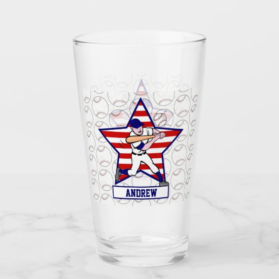Personalized stars n stripes baseball glas