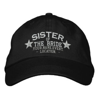 Personalized Stars Sister of the Bride Embroidery Baseball Cap
