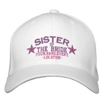 Personalized Stars Sister of the Bride in Pink Embroidered Baseball Cap